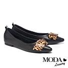 平底鞋 MODA Luxury 時髦百搭豹紋條帶釦全真皮平底鞋-黑