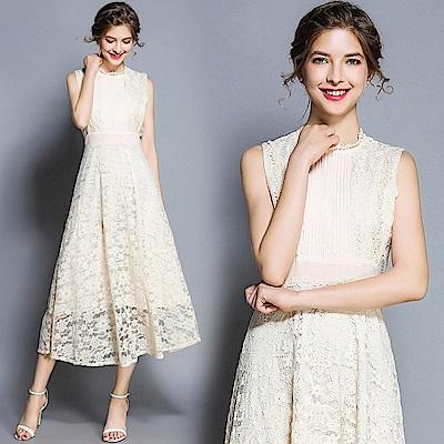 米白浪漫鏤空蕾絲收腰洋裝連身裙S-XL-M2M