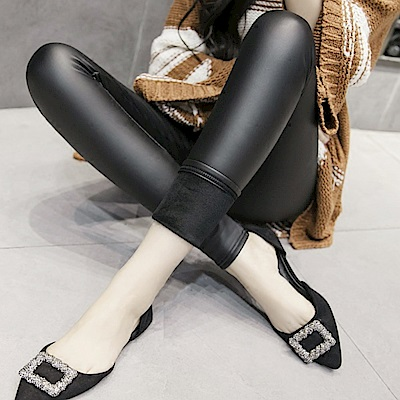 La Belleza歐美風合身皮褲內裡厚刷毛皮質內搭褲
