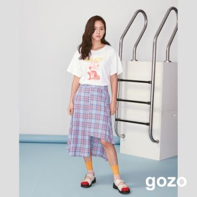 gozo 創意造型印花不收邊上衣(白色)