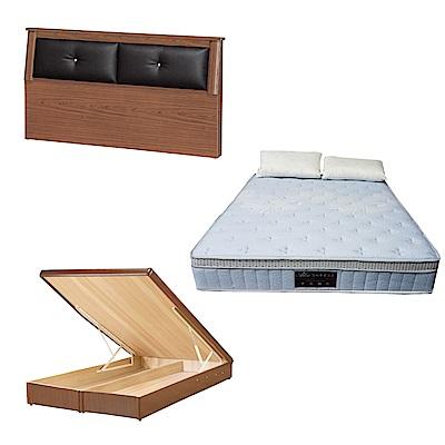 綠活居 亞達6尺雙人加大床台三式組合(床頭片+後掀床底+天絲獨立筒床墊)五色可選