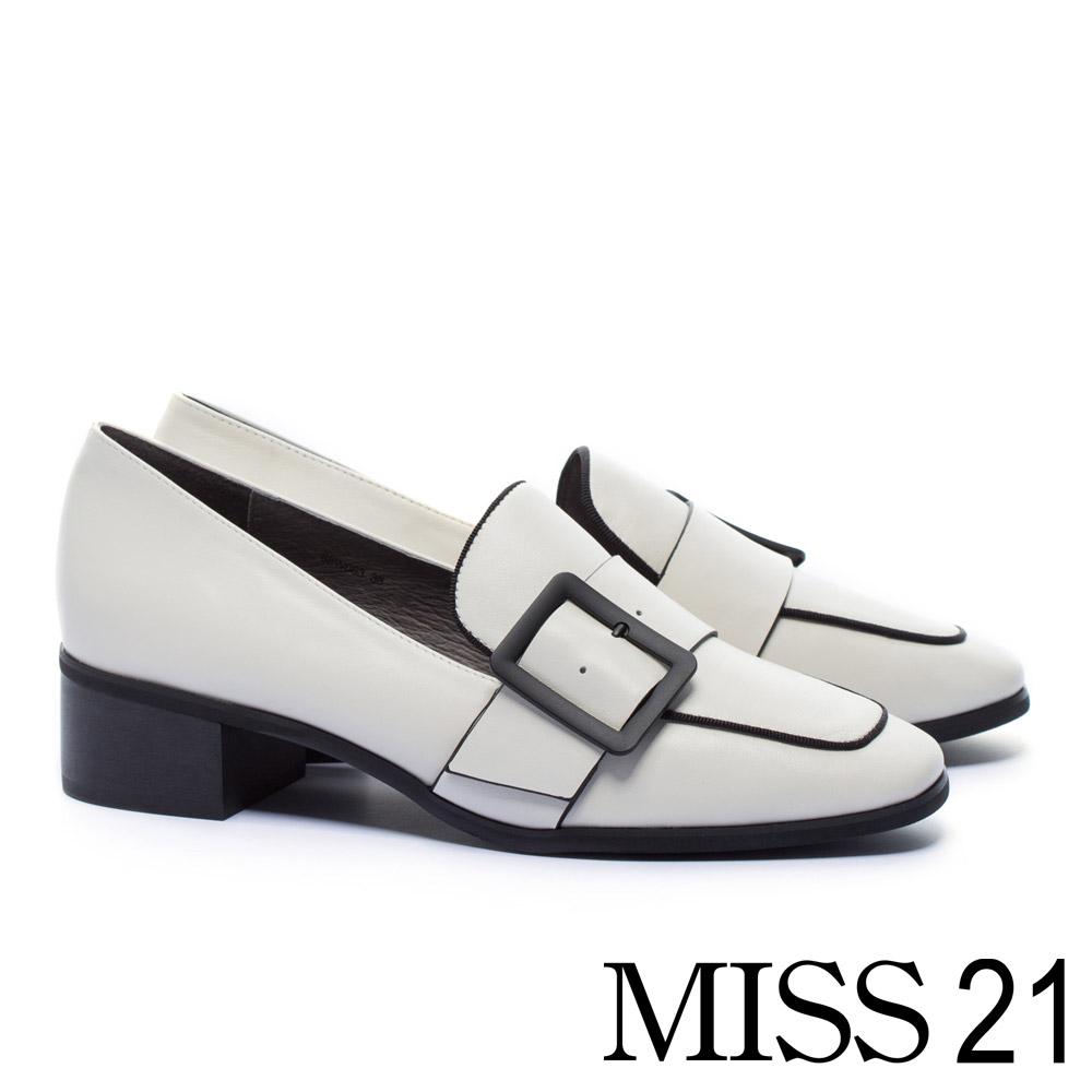 跟鞋 MISS 21 經典不敗復古學院方釦帶全真皮方頭樂福高跟鞋-白