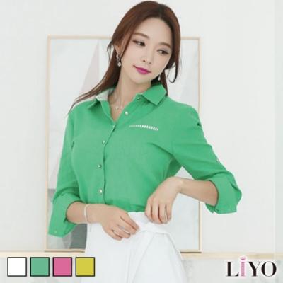 襯衫-韓版氣質寬鬆清新素色OL口袋長袖女襯衫LIYO理優