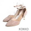 KOKKO -  優雅女神尖頭羊皮踝帶高跟鞋 - 藕灰
