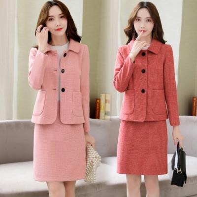 簡約單排釦雙口袋外套+修身短裙套裝M-2XL(共三色)-SZ