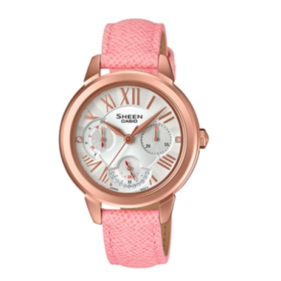 CASIO卡西歐 低調多重指針皮革女腕錶(SHE-3059PGL-7A)-粉x34mm
