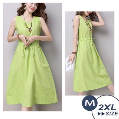 【LANNI 藍尼】簡約修身棉麻連衣裙-2色.