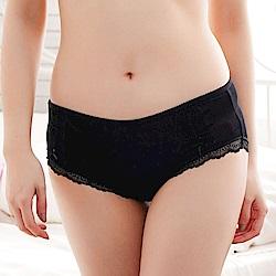 內褲 粉嫩浪漫蕾絲100%蠶絲內褲 (黑) Chlansilk 闕蘭絹
