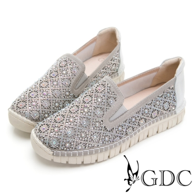 GDC-超舒適!熱賣好走水鑽真皮休閒鞋-銀色