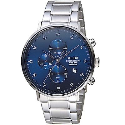 ALBA雅柏時尚潮流計時腕錶(AM3667X1)-藍