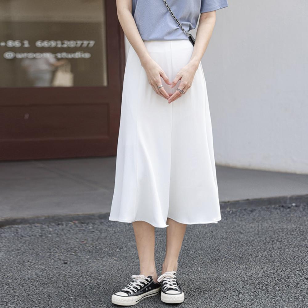 飄逸簡約荷葉魚尾半身中長裙S-XL(共三色)-沐朵