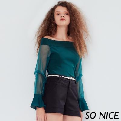 SO NICE優雅網紗拼接一字領針織上衣