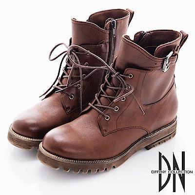 DN 中性風格 綁帶美式拉鍊軍短靴-棕