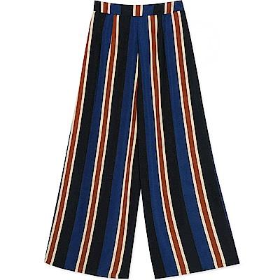 AIR SPACE 雙色直條紋雪紡寬褲(藍)
