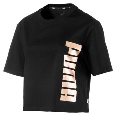 PUMA-女性基本系列Holiday短袖T恤-黑色-歐規
