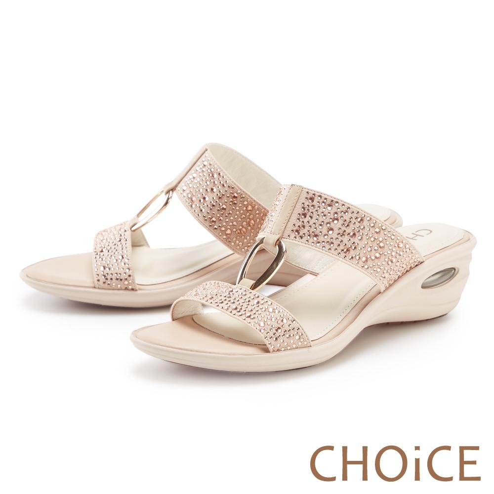 CHOiCE 真皮燙鑽金屬環氣墊 女 拖鞋 裸色
