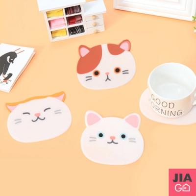 JIAGO 可愛貓咪造型止滑隔熱防燙杯墊