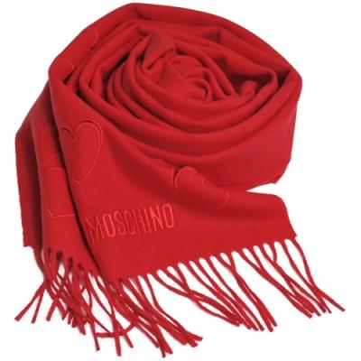 MOSCHINO 義大利製美麗諾羊毛繽紛愛心刺繡圖騰字母LOGO刺繡披肩/圍巾(紅色)
