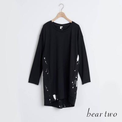 bear two- 繽紛彩帶印刷造型上衣 - 黑