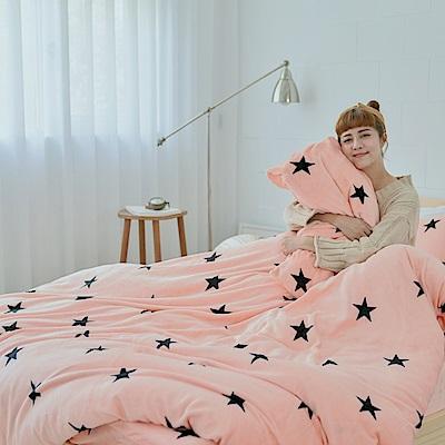 AmissU 北歐送暖法蘭絨單人床包枕套2件組 星戀幻影