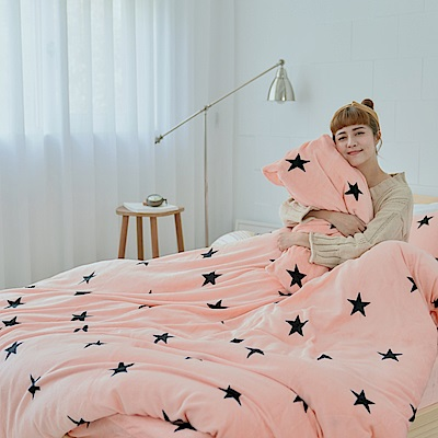 AmissU 北歐送暖法蘭絨雙人床包兩用毯被四件組  星戀幻影