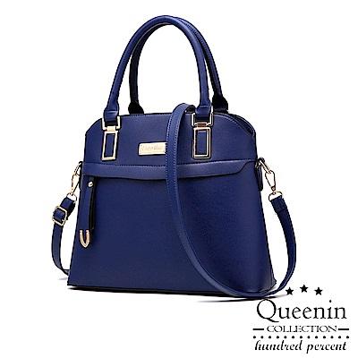 DF Queenin日韓 - 名媛典雅單色風潮手提斜背包-深藍色