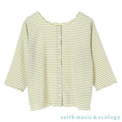 earth music 3WAY格紋捲邊開襟寬領七分袖上衣
