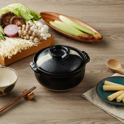日本TAIKI太樹萬古燒 珠玉點點雜炊土鍋5.5號-黑(0.9L)