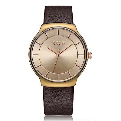 JULIUS聚利時 專屬誓言簡約時尚皮錶帶腕錶-咖啡/38.5X42.5mm