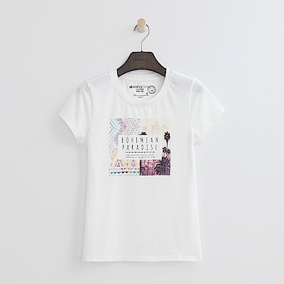 Hang Ten - 女裝 - 有機棉 炫彩印圖上衣-白色