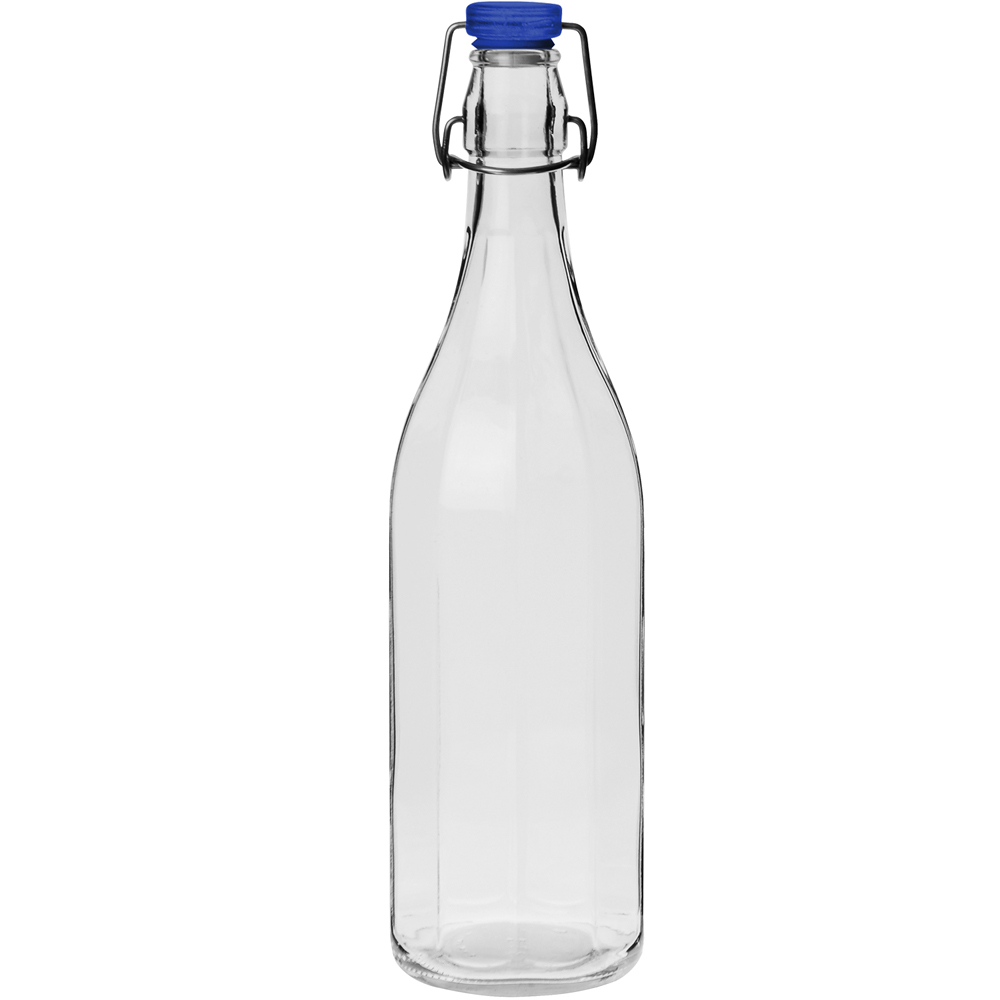 《EXCELSA》直紋扣式密封玻璃水瓶(藍1000ml)