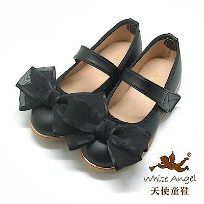 天使童鞋 韓式緞帶蝴蝶結公主鞋 J941-黑