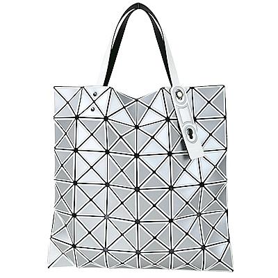 ISSEY MIYAKE 三宅一生 BAOBAO 6x6 撞色描框幾何透光手提包(銀白色)