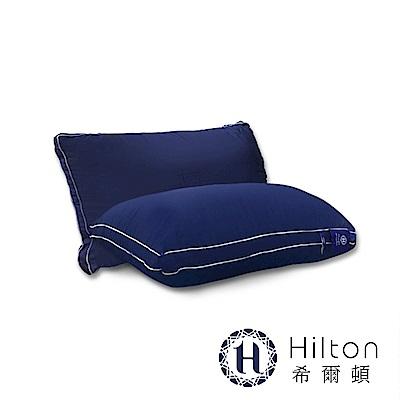 Hilton 希爾頓 五星級御用 雙滾邊純棉立體枕/藍 1入