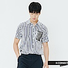 H:CONNECT 韓國品牌 男裝-口袋印花條紋襯衫-灰