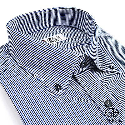 GIBBON 英倫風細格紋長袖襯衫‧黑藍格