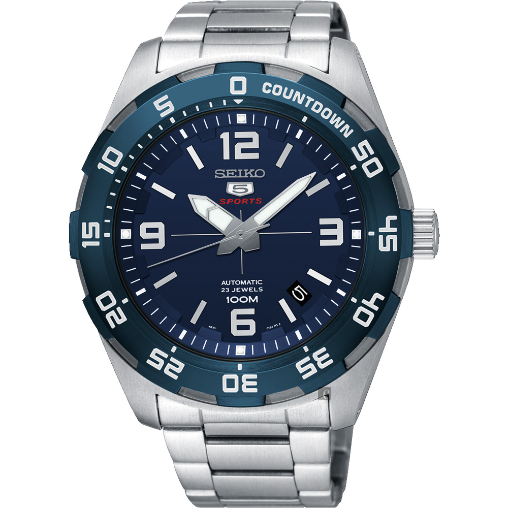 SEIKO 精工 SPORTS 5號23石盾牌機械男錶-藍x銀/44mm 4R35-02C0B