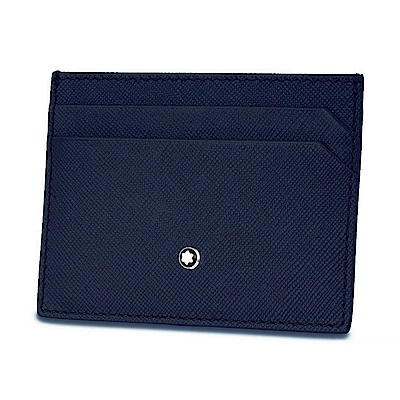 Montblanc 萬寶龍匠心系列 牛皮十字紋卡夾-<b>5</b>卡(藍灰雙面雙色)