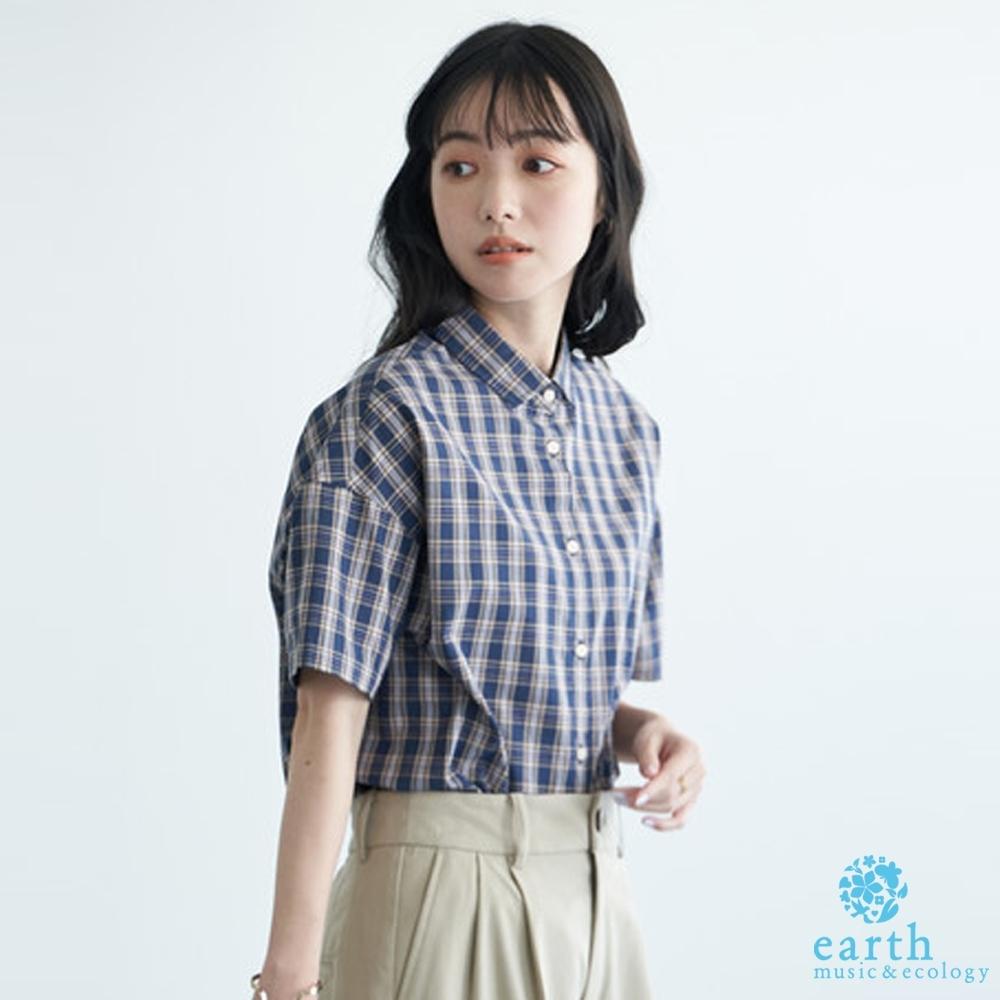 earth music 2WAY兩穿式素面/格紋落肩短袖襯衫