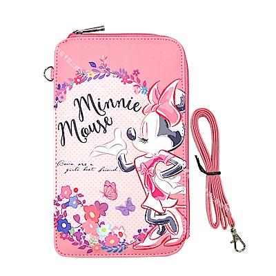 迪士尼授權正版 PU系列花朵風L手機肩背包(米妮)