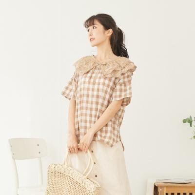 慢 生活 層次蕾絲紗織衣領- 卡
