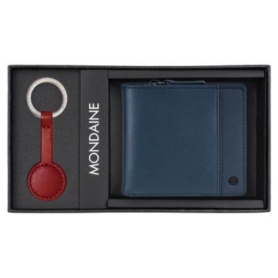 MONDAINE 瑞士國鐵 八卡零錢包短夾(藍)+紅秒針鑰匙圈禮盒