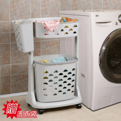 創意達人陽光衣物分類收納架(附輪)贈洗衣袋1入組