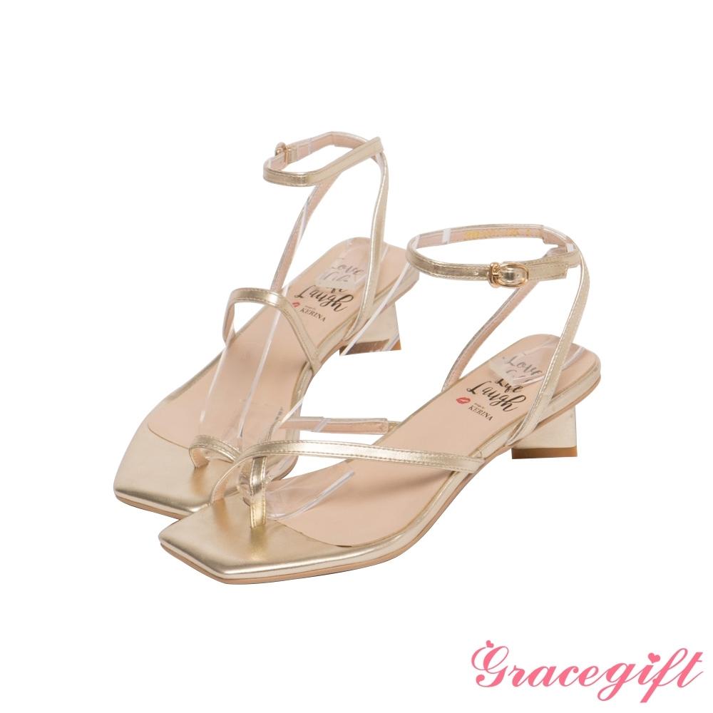 Grace gift X Kerina-聯名不對稱條帶低跟涼鞋 淺金