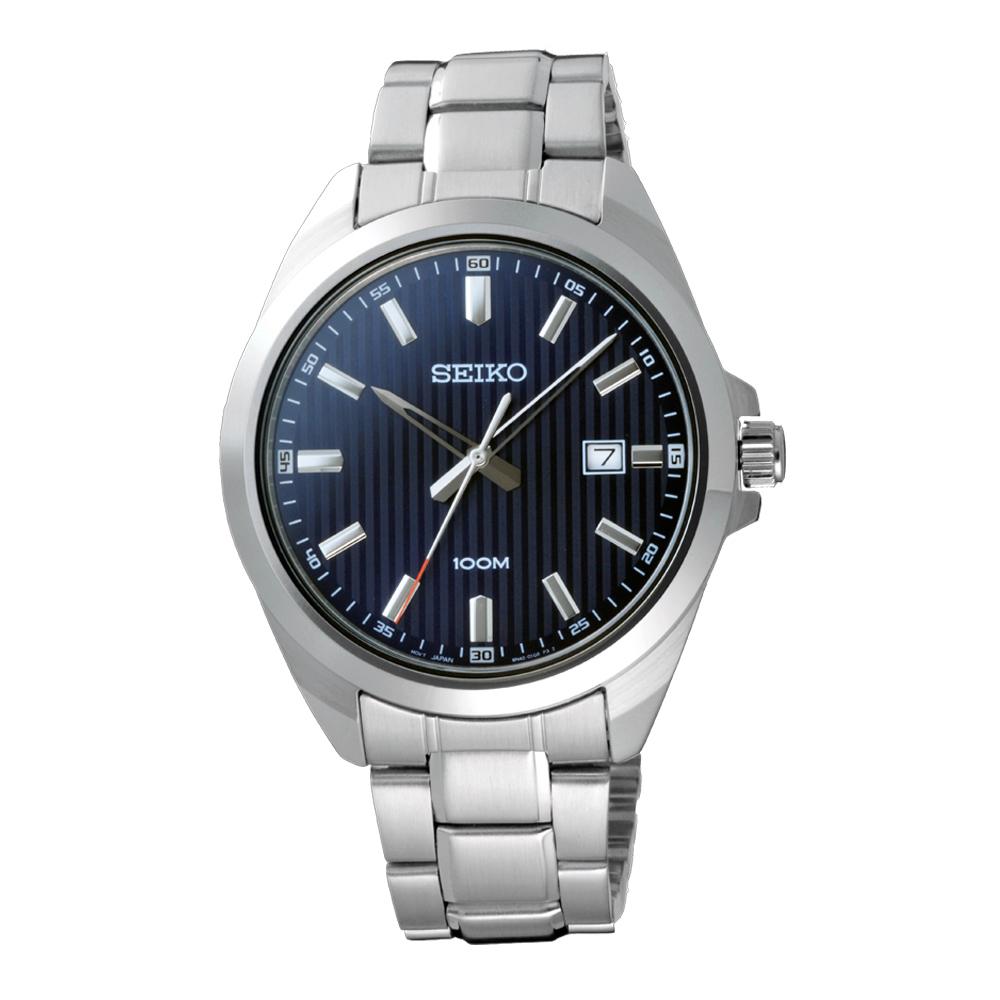 SEIKO風格時尚條紋腕錶-銀X藍(SUR275P1)-42mm