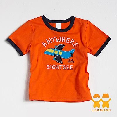 【LOVEDO-艾唯多童裝】翱翔天際的小飛機 拼布式短袖T恤 (橘)