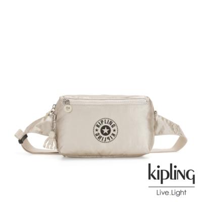 Kipling 都會時髦霧金色經典LOGO方形腰包-HALIMA