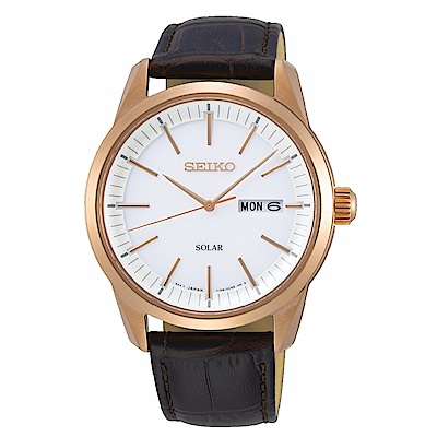 SEIKO精工 質感簡約太陽能時尚腕錶V158-0BE0K/SNE530P1
