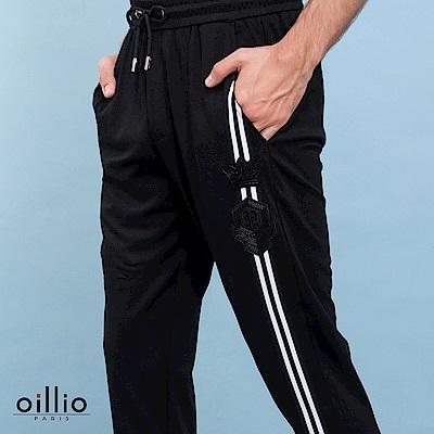 oillio歐洲貴族 休閒縮口修身長褲 右褲管條紋 彈力棉衣料 黑色