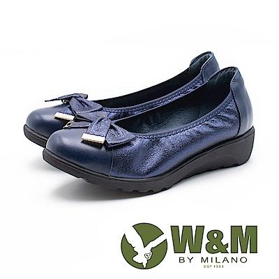 W&M 蝴蝶結裝飾拼接厚底娃娃鞋 女鞋 - 藍(另有黑)